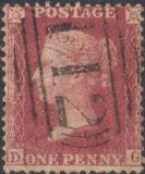 1857 1d Rose-red SG40 Plate 60 'DG'(1) CV